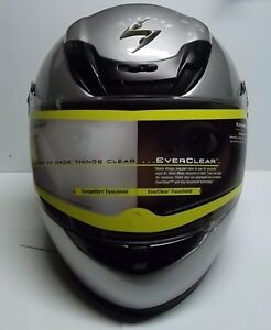 Scorpion-Exo-400-Light-Silver-Vented-Full-Face-Motorcycle-Helmet-w-Clear-Shield