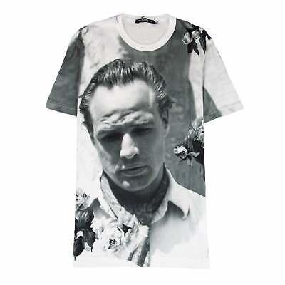Dolce/&Gabbana Men Black T-Shirt 100/% Cotton Mister Pig Print Slim Fit Casual Top