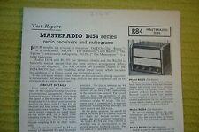 Vintage 1956 BRT Test Report No.R84 Masteradio D154 Series Radio Receivers/Grams