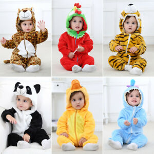 2ffe5fcfe Image is loading Baby-Kids-Flannel-Romper-Hooded-Pajamas-Animal-Cosplay-