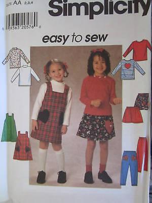 7785 Vintage Simplicity Sewing Pattern Girls Jumper Top Skirt Pants OOP School