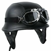 Pilot Goggles Dot Wwii German Style Motorcycle Half Face Biker Helmet