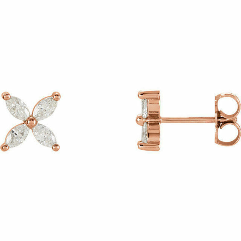 Diamond Floral Earrings In 14K pink gold (5 8 ct. tw.)