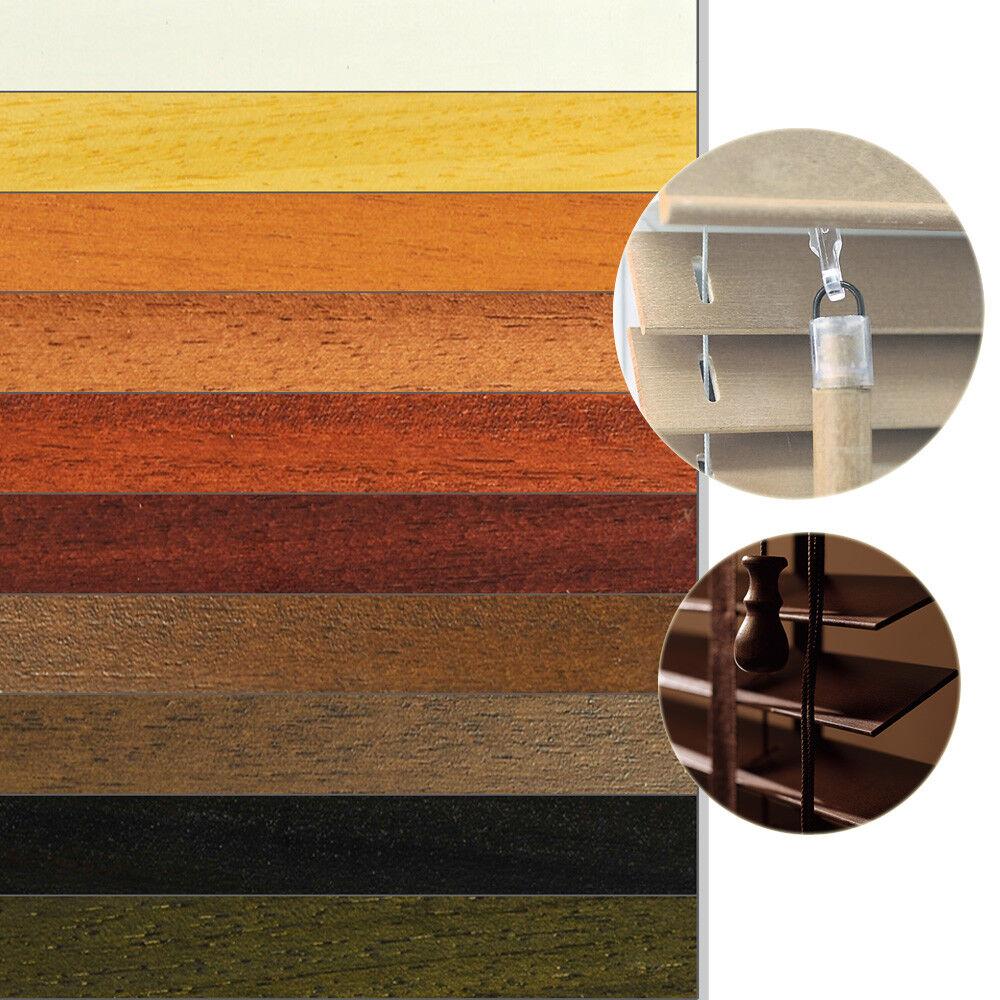 Tenda veneziana in legno 140cm di altezza a rullo plissettata schalusie jalusette natura vero legno