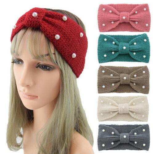 Casual Women Thermal Head Knitting Wool Pearl Sweet Girls Hair Hairband Gift