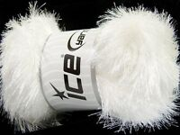 100 Gram White Eyelash Glitz 46549-35794 Ice Sparkly White Eyelash Yarn 153 Yds