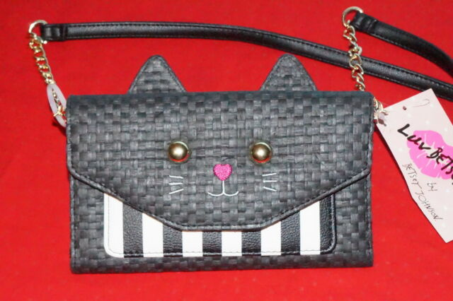 97a6ed0610b3 Betsey Johnson LBSISSY Black Straw Cat Face Wallet on String $26.-NWT Free/