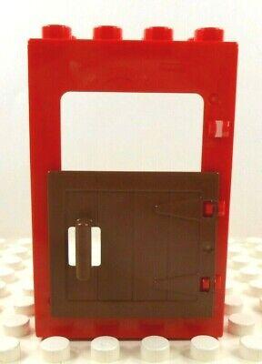 Lego Duplo Moldura da porta com porta do celeiro Vermelho Com Marrom