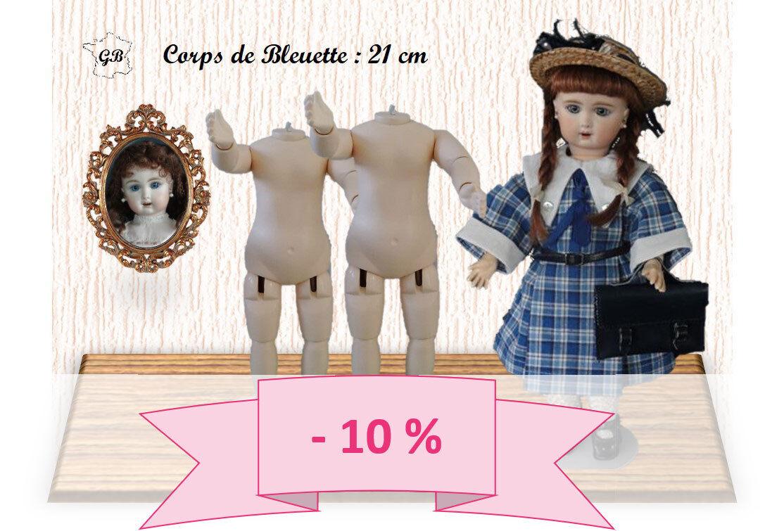 Promo 10% - Bündel von 2 Körper Größe Blauette für Doll Ancienne. Höhe 21cm