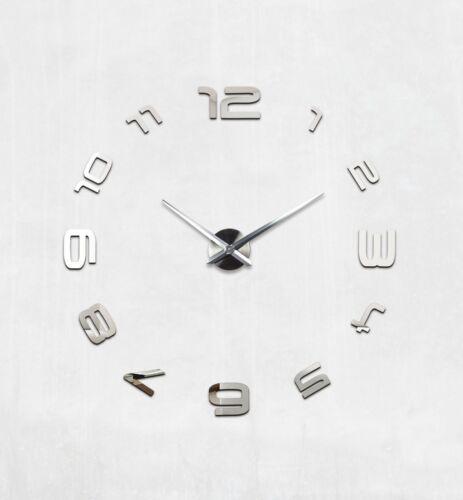 Wanduhr DIY XL Deko Spiegel Edelstahl Wandtattoo Wand Uhr Groß XXL Clock silber