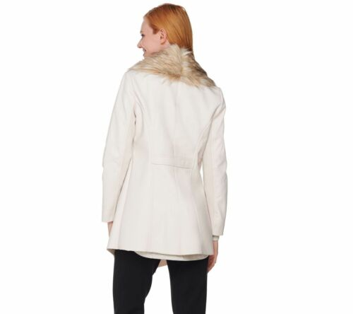 Dennis Basso Faux Leather Jacket with Removable Faux Fur Collar Size XL $149