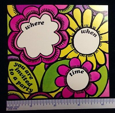 WOODSTOCK GROOVY POP ART 20 1960s WHERE WHEN /& TIME INVITATION FLOWER CARDS  #3a