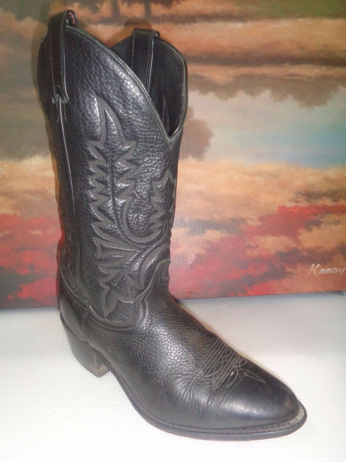 Amazonas Black Leather Pull-On Western Cowboy Boots Men's U.S. 10EE