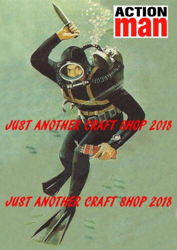 Action Man Sailor Navy Frogman Framed 1960/'s A4 Size Poster Advert Sign Leaflet