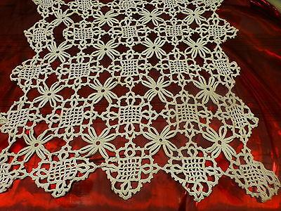 Frugale Ancien 50x47cm Crocheté Main Napperon Ou Futur Rideaupetite Fenétre ,blanc