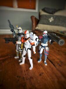 Star Wars Clone Wars 3.75 Trooper 8 Figure Lot Arc Colt Blitz Jet Commando Boss