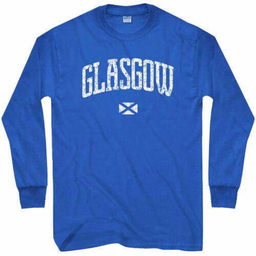 Glasgow Long Sleeve T-shirt LS Scotland UK Glesga Glaschu GB Men // Youth