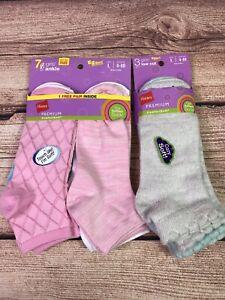Hanes-premium-comfort-soft-girls-ankle-amp-low-cut-size-L-4-10-Pink-Blue-Gray