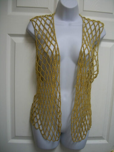 Boho Vest Plastic Sheer Metallic Diamond Top Glitzy Pattern Spiderweb Gold Bead x1vOaf0qw