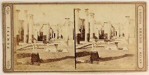 Pompei Italia Foto Amodio Napoli Stereo PL56L1n Vintage Albumina c1865