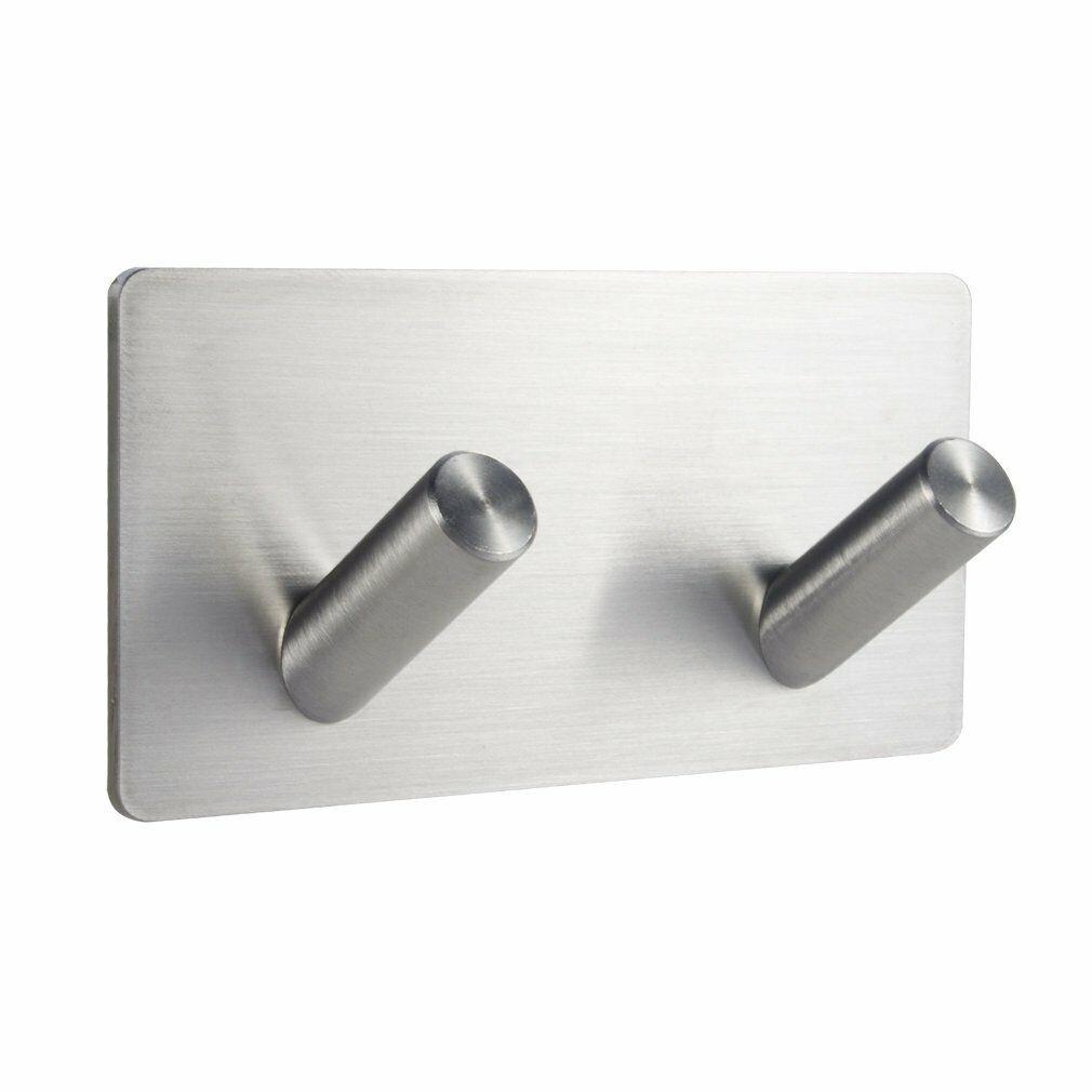 NEW 6Pcs Stainless Steel Adhesive Clothes Hanger Hook Wall Door Hook Bathroom