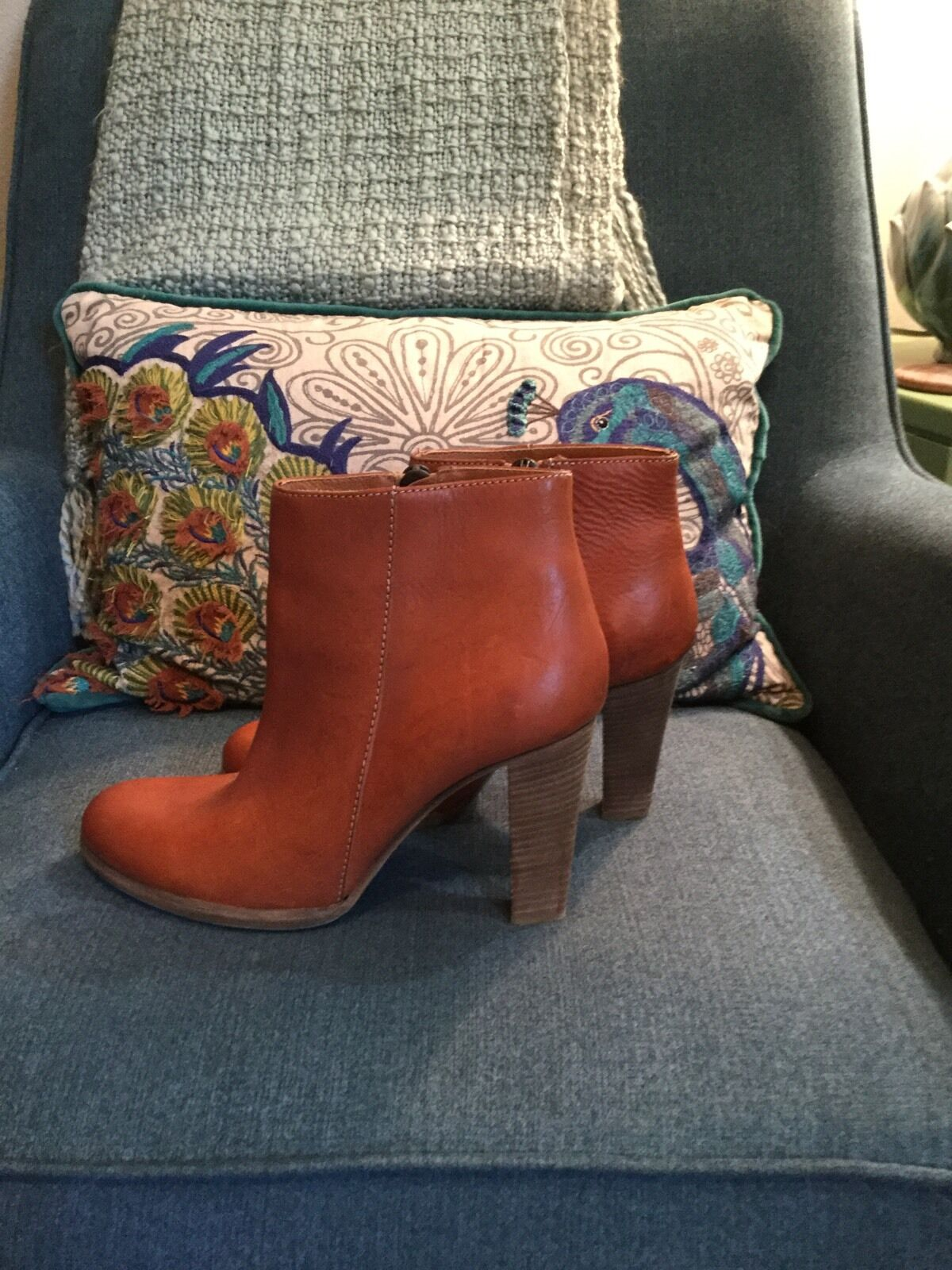 Madewell 1937 Stiefel Braun Rust Leder 9.5 B Mail Stacked Heel Ankle Bootie Euc