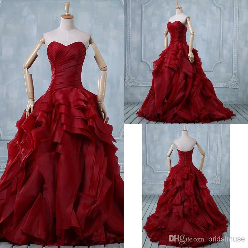Vintage Organza Ball Gown Wedding Dress Sweetheart Long Bridal Evening Prom Gown