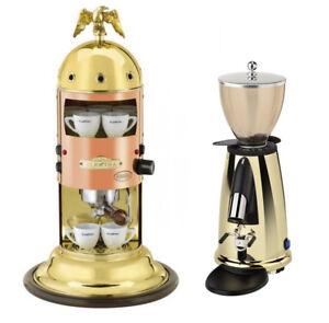 Elektra-Mini-Verticale-A1-Machine-amp-Grinder-MSDO-Espresso-Golden-Combo-Set-110V