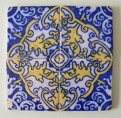 Lovely Genuine Antique Flower Pattern Portuguese tile panel #683
