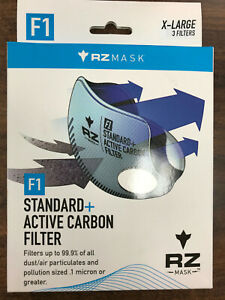 RZ Mask Multi-Purpose Replacement Active Carbon Filter F1 Gray XL 3 pk