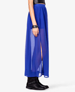 Nwt Forever 21 Slit Chiffon Maxi Skirt In Royal Blue Size Medium Ebay