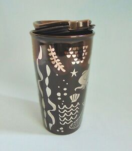 Starbucks-Ceramic-Travel-Mug-Cup-Coffee-Siren-Mermaid-2017-Brown-Silver-NWT