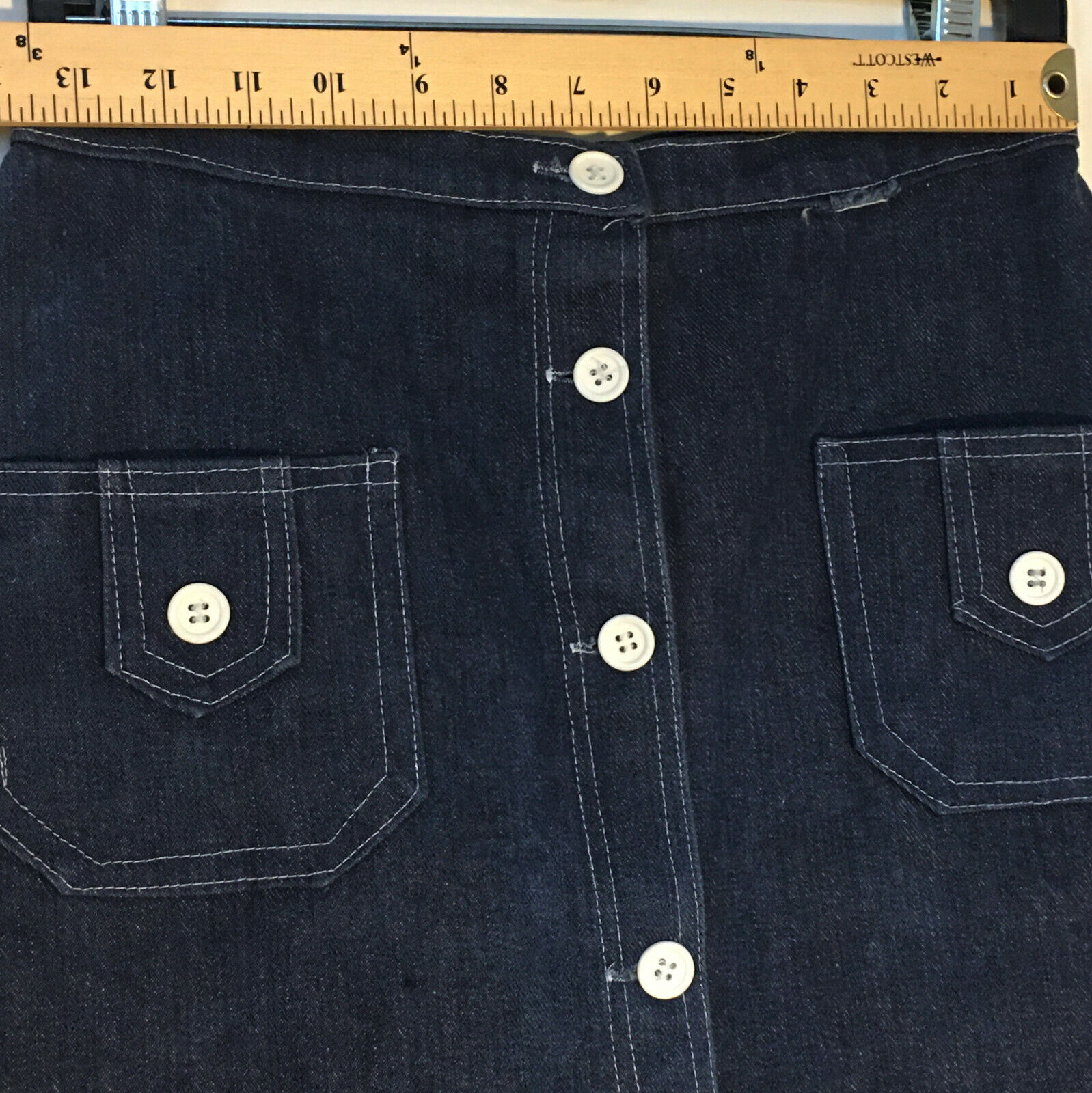 Peekaboo A-Line Vintage Inspired Denim Button Fro… - image 4