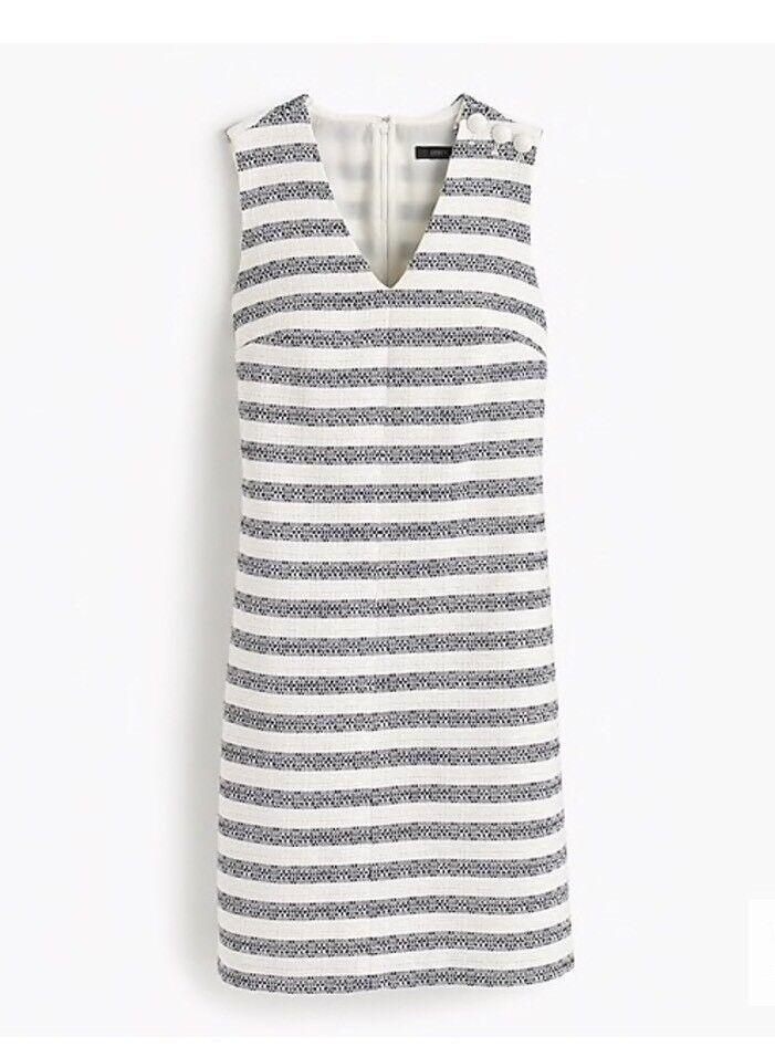 NEW J.CREW Striped Tweed Sheath Dress 4 Ivory Navy  138 F1488