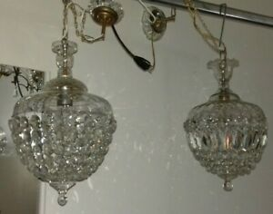 Lampadario Gocce Cristallo Anni 60.Coppia Lampadari Sfera Cristallo Anni60 Pair Of Crystal Sphere