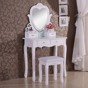 schminktisch kosmetiktisch frisiertisch mit spiegel hocker 4 schubladen mb6025cm ebay