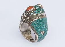 Traditioneller Tibetischer Türkis Ring tibetan turquoise ring neusilber  Nr.21