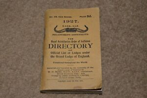 RAOB 1927 Directory And Official List Of Lodges GRAND LODGE OF ENGLAND book