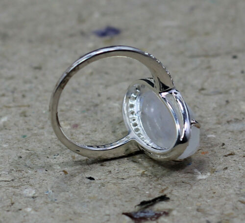 Natural Moonstone Zircon Ring Solid 925 Sterling Silver Jewelry livraison gratuite MR1960