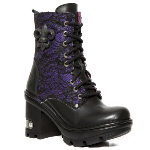 New Rock Schuhe Damen Stiefelette Gothic Stiefel Zip High Heels Plateau Lila
