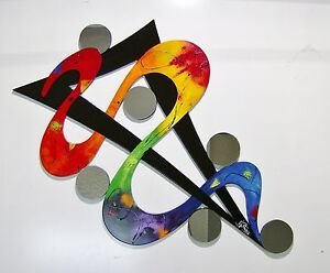 Unique Colorful Rainbow Abstract Wood Wall Sculpture With Mirrors Large 48x31 Ebay