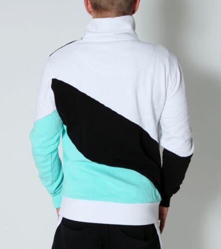 Felpa Windbreaker Blu Neon Vsct cappuccio Zipper Block Color con Blouson Sweater Bianco rwPzqBr