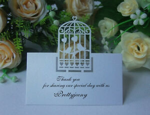 Wedding laser cut birdcage table invitation name card for Decoration table pour invites