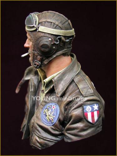 YOUNG Miniatures Pilota statunitense Flying Tigers WW2 YM1843 1/10th NON VERNICIATA Busto
