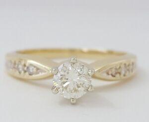14k Hallmark Gold Diamond Ring Diamond Engagement Ring Engagement Ring 0.49 Carat Diamond Ring in 14k White Gold Round Briliant Cut