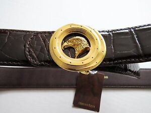0a18904b2 Image is loading STEFANO-RICCI-Brown-Crocodile-Leather-with-Eagle-Gold-