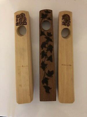 3 Wooden Bottle Holders - Pyrograved (13.5 X 2.5 Inches)