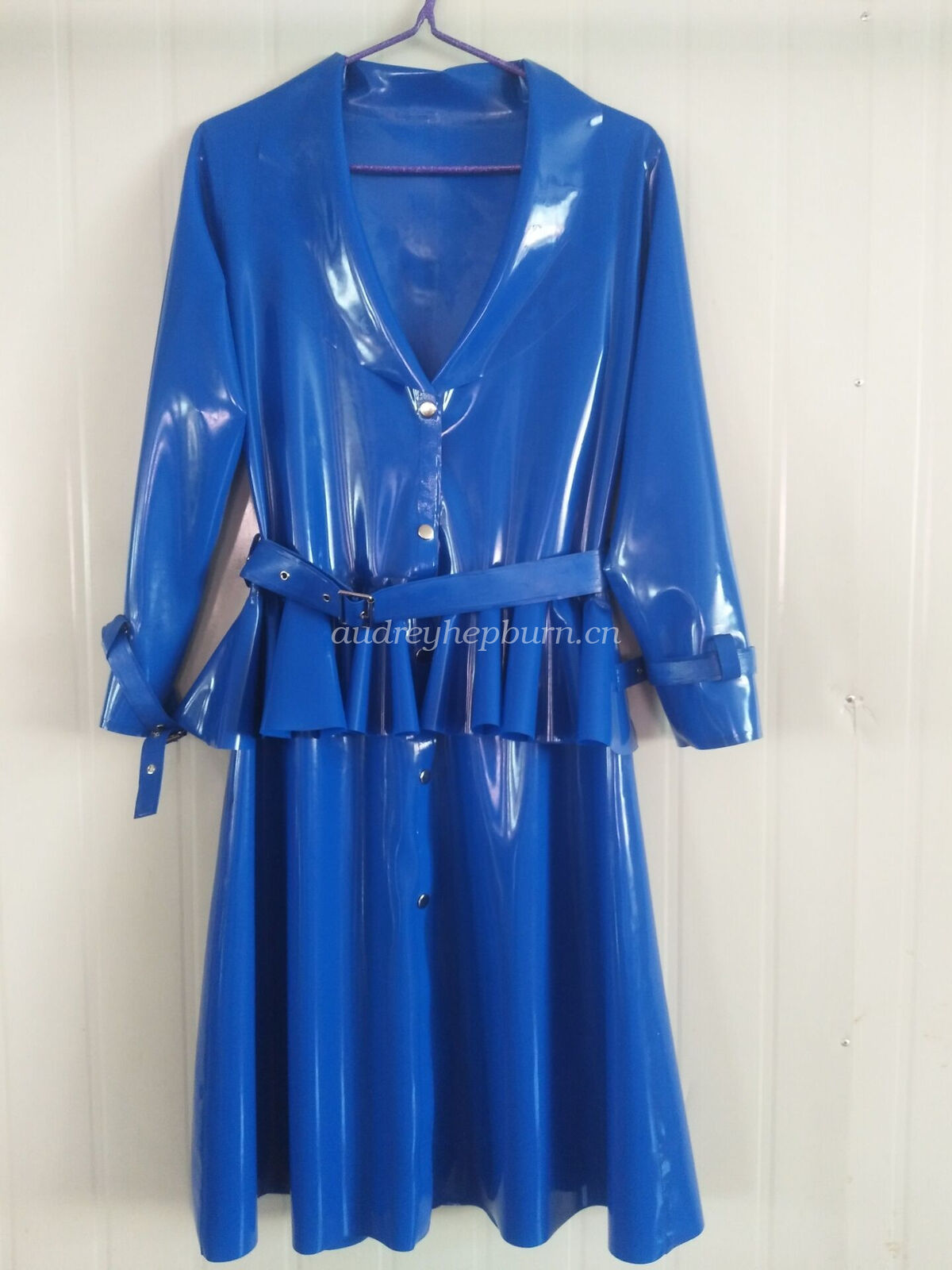 Latex Rubber Women Handsome Coat And Pleated Skirt With Belt Suit Size XXS-XXL
