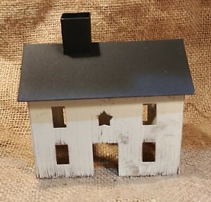 Country Primitive Burgundy Tin Saltbox House Star Cut Out Metal Rustic New