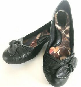 Born-Black-Leather-Flats-Bow-Accent-Women-039-s-8-5-Excellent-Trendy